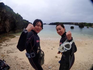 ビーチで体験ダイビング~。